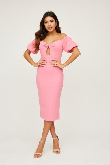 Palmira Bubblegum Pink Bardot Midi Dress