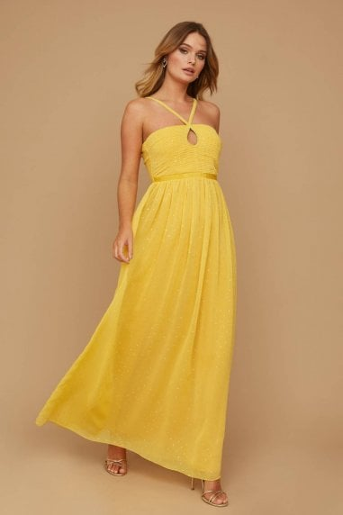 Brandy Yellow Lurex Keyhole Maxi Dress