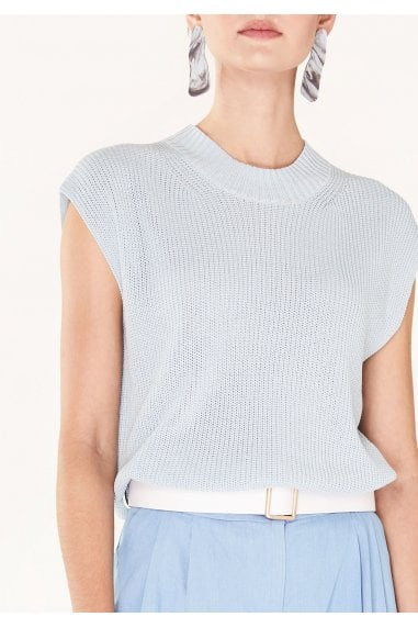 Sleeveless Top with Wide Ribs and High Neck in Light Blue