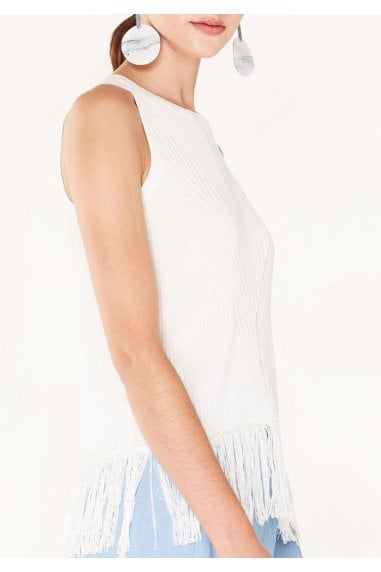 Knitted Top with Ribbed Details and Fringe in White