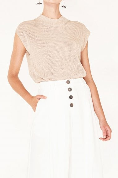 Sleeveless Top with Wide Ribs and High Neck in Beige