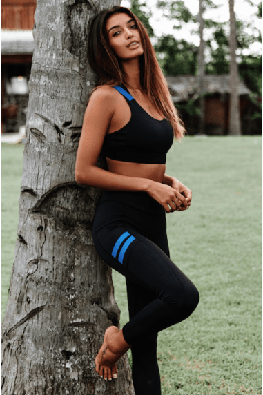 Chicago Leggings with Blue Stripe in Black
