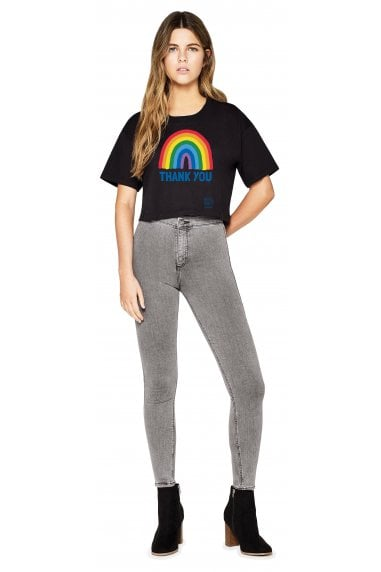 Women's Black Rainbow Cropped Loose Fit T-Shirt