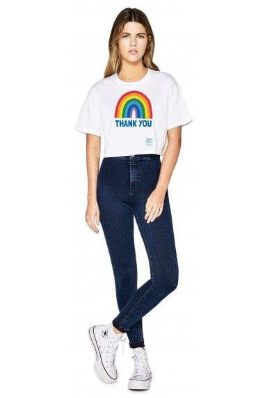 Women's White Rainbow Cropped Loose Fit T-Shirt
