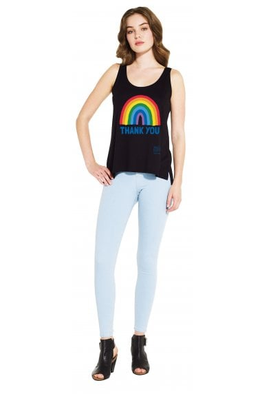 Women's Black Rainbow Tencel Blend Vest