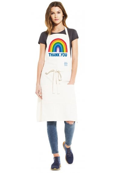 Natural Rainbow Recycled Unisex Bib Apron With Pockets