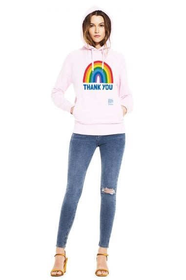 Unisex Candy Pink Rainbow Pullover Hoodie With Side Pockets
