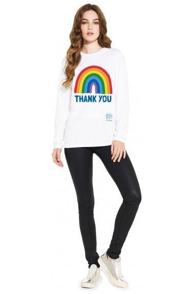 Unisex White Rainbow Long Sleeve T-Shirt
