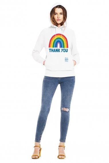 Unisex White Rainbow Pullover Hoodie With Side Pockets