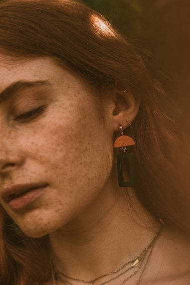 Dark Green Wooden Geometric Earrings