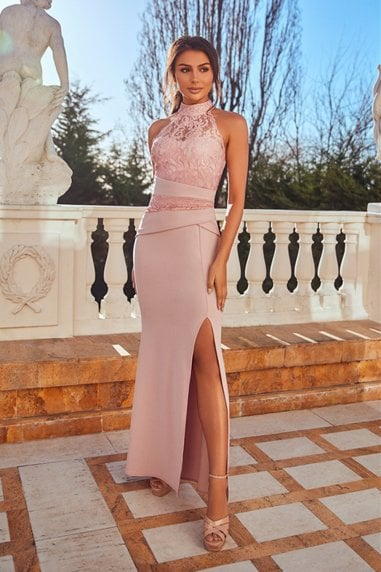 Kaytianne Pink Lace halterneck maxi Dress