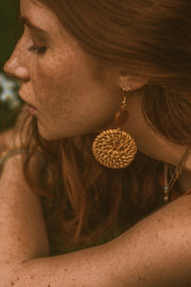 Natural Rattan Disc Drop Earrings