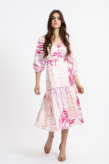 Frill Midi Wrap Dress in Pink Zebra Print