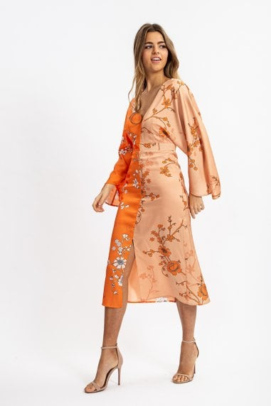 Kimono Dress in Orange and Beige Oriental Print