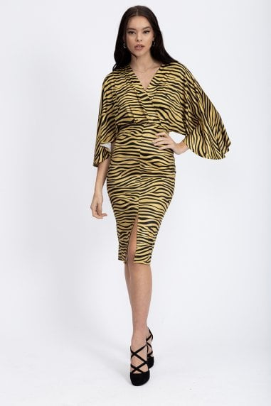 Zebra print midi dress in gold