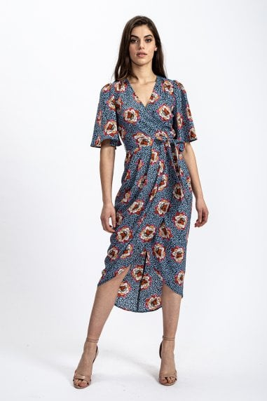 Short Sleeve Midi Wrap Dress in Floral & Leopard print