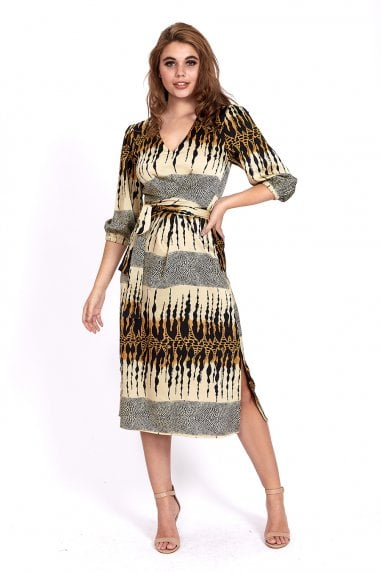 MIDI DRESS IN LAYERED BEIGE ANIMAL PRINT