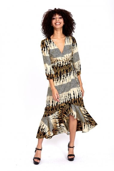 TIE WAIST MIDI DRESS IN BEIGE LAYERED ANIMAL PRINT