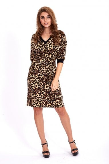 3/4 Sleeve Jersey Mini Dress in Animal Print