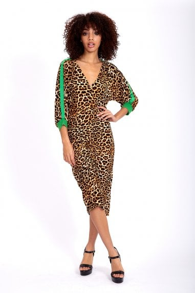 Leopard Midi Dress with Green Lines on Sleeves