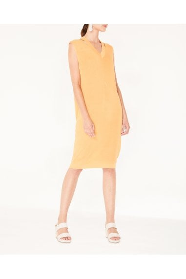 V-Neck Sleeveless Dress with Cut Out Neck in Orange