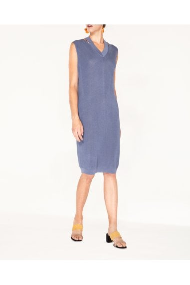 V-Neck Sleeveless Dress with Cut Out Neck in Blue