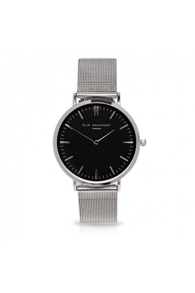 Oxford Large Mesh Silver/Black Watch