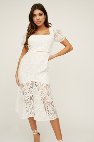 Presley Lace Square-Neck Peplum Midi Dress