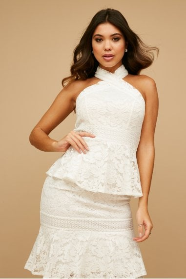 Kenzo White Tiered-Lace Ruffle Midaxi Dress