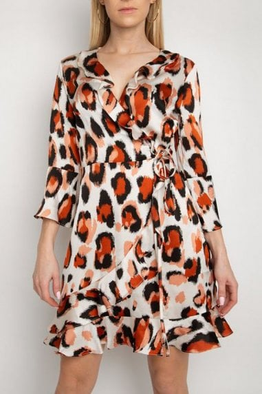 Gini London Cream Animal Print Frill Wrap Dress