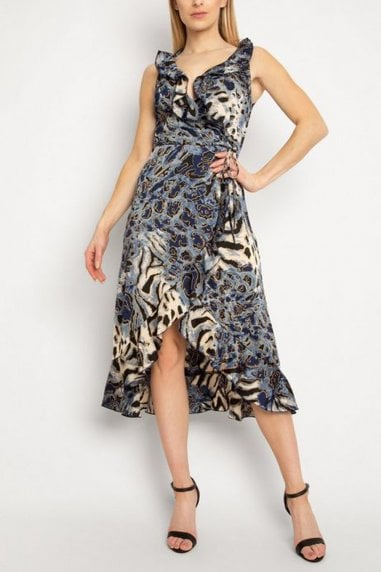 Gini London Blue Animal Print Ruffle Dress