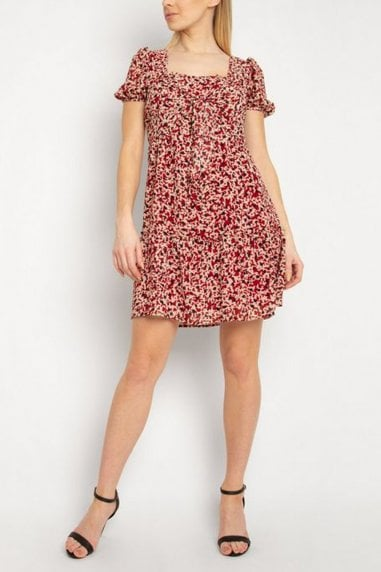 Gini London Rust Spot Square Neck Dress