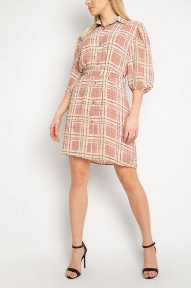Gini London Red Check Puff Sleeve Shirt Dress