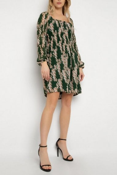 Gini London Green Floral Print Tiered Skater Dress