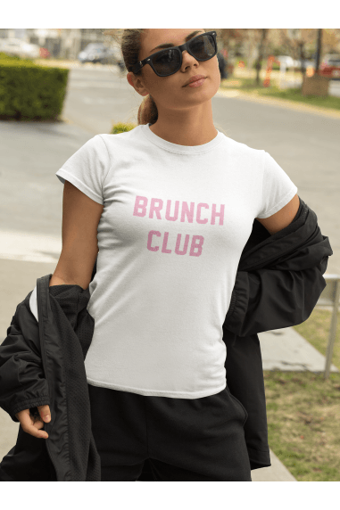 BRUNCH CLUB WHITE SLOGAN TEE