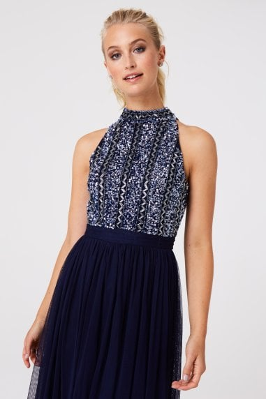 Luxury Charli Navy Hand-Embellished Midi Dress