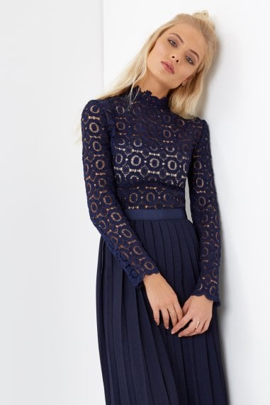 Alice Navy Crochet Top Dress With Pleated Skirt