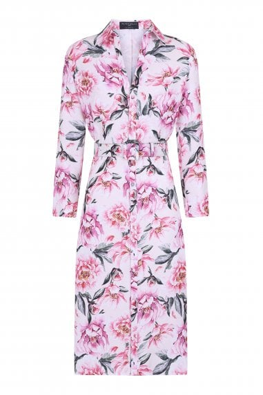 Marston Blush Floral-Print Belted Midi Shirt Dress