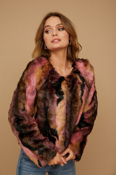 Multi-Colour Faux Fur Jacket