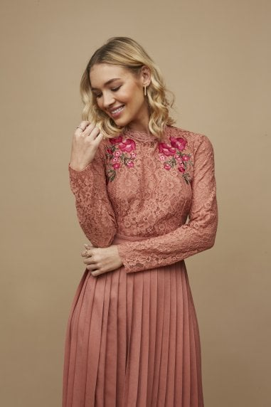 Casey Rose Gold Embroidered Pleated Midaxi Dress