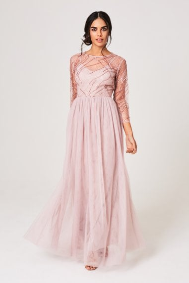 Bridesmaid Jodie Mink Sequin Mesh Maxi Dress