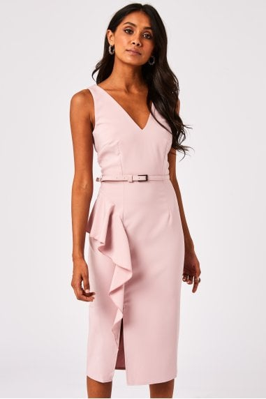 Noe Blush Frill Belted Pencil Dress