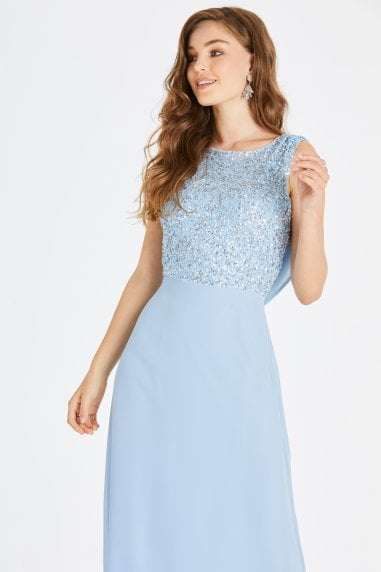 Irena Blue Hand-Embellished Sequin Cowl Back Maxi Dress
