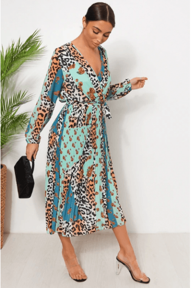 Green Floral Leopard Print Midi Dress