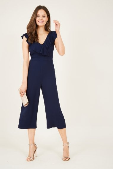 Navy Ruffle Culotte Jumpsuit