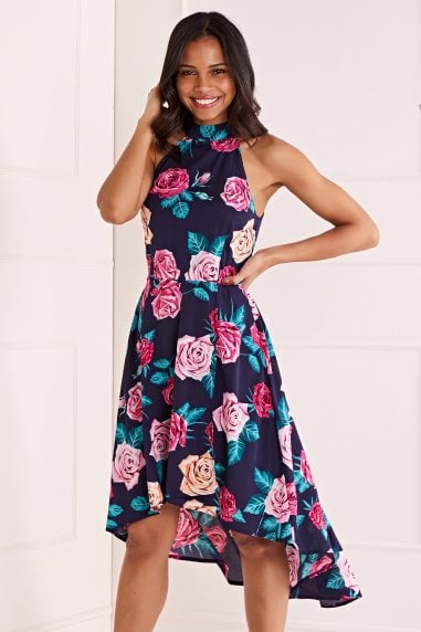Rose Flower Asymmetric Dress