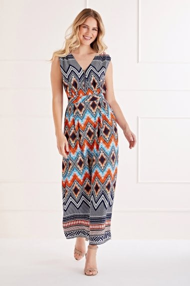 Orange and Navy Maxi Dress