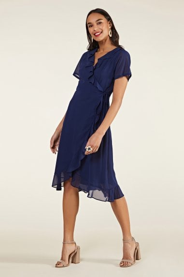 Frill Wrap Dress With Tassel Detail