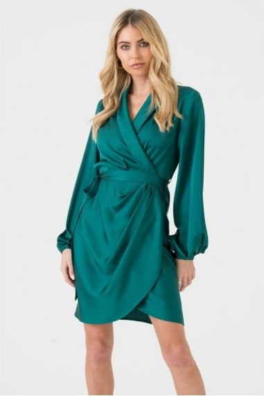 Draped Satin Wrap Mini Dress in Forest Green