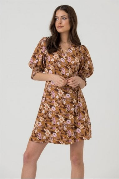 Cropped Sleeve Wrap Mini Dress in Mustard Floral